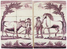 Cow & horse, 19th century