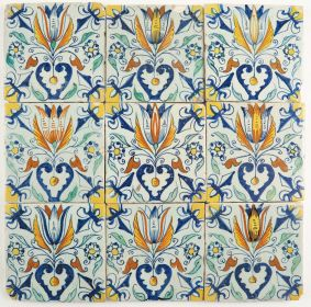 Set of nine Delft tiles with Tulip Hearts, 17th century