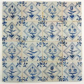 Antique Delft wall tiles with flowers in blue, 17th century