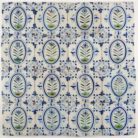 Antique Delft wall tiles with colorful flowers, 17th century