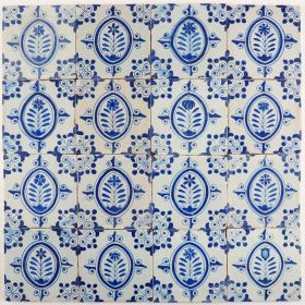 Antique Delft wall tiles in blue with flowers, 17th century