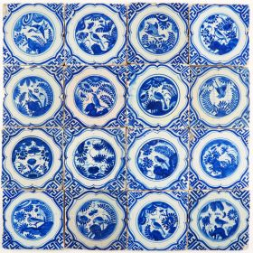 Set of 16 antique Delft tiles with Chinese Gardens, 17th century