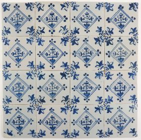 Antique Delft wall tile with flowers in a diamond square, 18th century