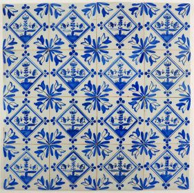 Antique Delft wall tiles with flowers in blue, 19th century