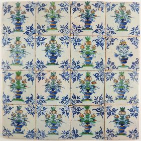 Antique Delft wall tiles with polychrome flower pots, 17th century