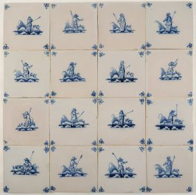 Antique Delft wall tiles with shepherds 18th century