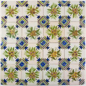 Antique Delft wall tiles with bouquets, 19th century