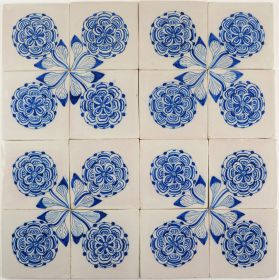 Antique Delft wall tiles with roses, 18th and 19th century