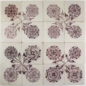 Antique Delft tiles with roses in manganese, 18th and 19th century