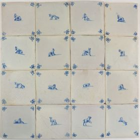 Antique Delft wall tiles with animals, 17th century