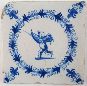 Antique Delft tile with Cupid wielding a sword and shield, 17th century