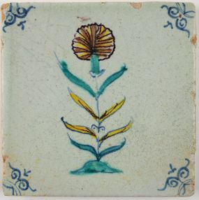 Antique Delft tile with a carnation, 17th century