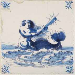 Antique Delft tile with a merman wielding a morning star, 17th century