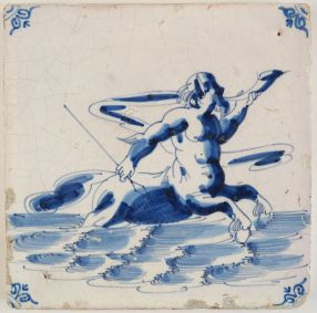 Antique Delft tile with a centaur, 17th century