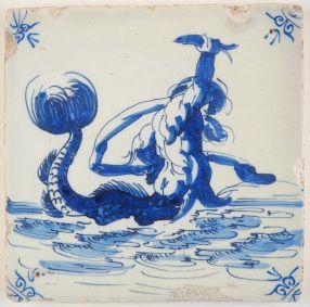 Antique Delft tile with merman, 17th century
