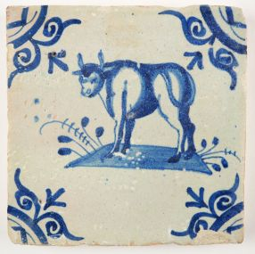 Antique Delft tile with a bull, 17th century