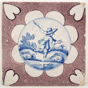 Antique Delft tile with a shepherd, 18th century