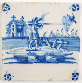Antique Delft tile with a hunter shooting a duck, 18th century