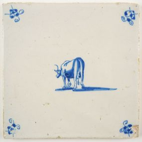 Antique Delft tile with a cow, 18th century