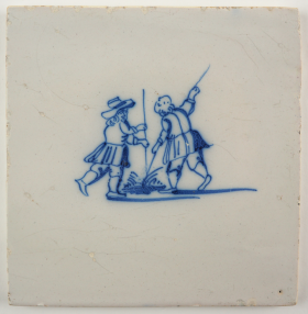 Antique Delft tile with two farmers pole leaping across a canal, 18th century