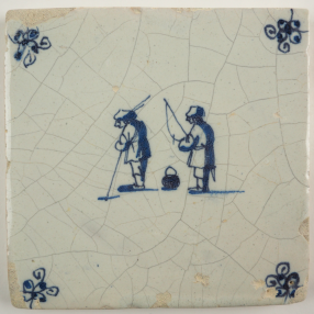 Antique Delft tile in blue with two men catching some fish, 17th century