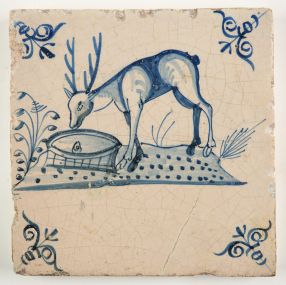 Antique Delft tile depicting a stag seeing his own reflection in the water (fable), 17th century
