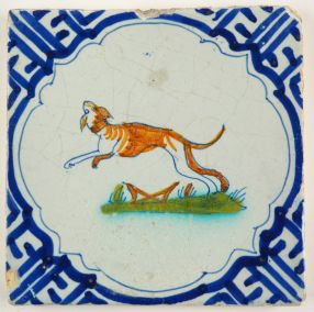 Antique Delft tile with a sighthound, 17th century