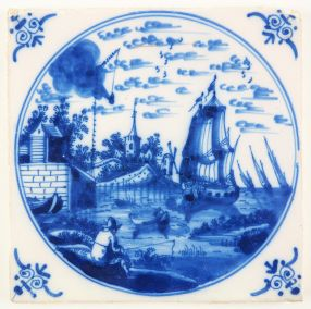 Antique Delft tile with a detailed harbor scene, 18th century Amsterdam