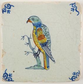 Antique Delft tile with a parrot, 17th century