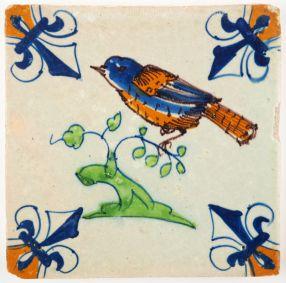 Antique Delft tile with a bird on a branch, 17th century Gouda