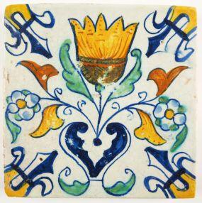 Antique Delft tile with a Tulip, 17th century