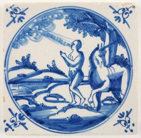 Antique Delft tile with the creation of men, 18th century Amsterdam