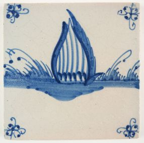 Antique Delft tile with a duck, 18th century