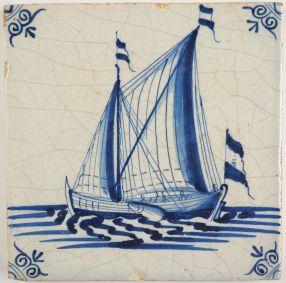 Antique Delft tile with a cargo vessel under sail, 17th century