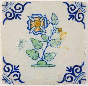 Antique Delft tile with a corncockle, 17th century