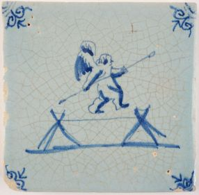 Antique Delft tile with Cupid on a balancing rope, 17th century