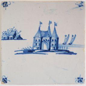Antique Delft tile with a castle, 17th century