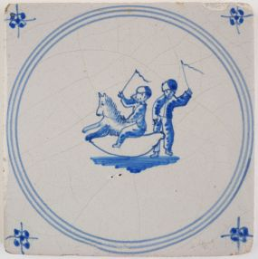Antique Delft tile with a rocking horse, 19th century