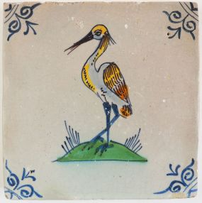 Antique Delft tile with a heron, 17th century