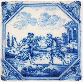 Antique Delft tile depicting Procris and Cephalus, 18th century