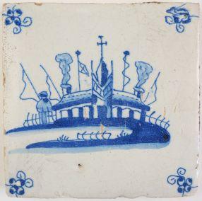 Antique Delft tile with a settlement, 17th century
