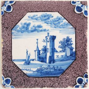 Antique Delft tile with a city wall, 18th century