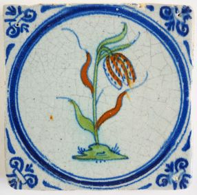 Antique Delft tile with a Snake's Head, 17th century