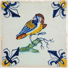 Antique Delft tile with a bird, 17th century