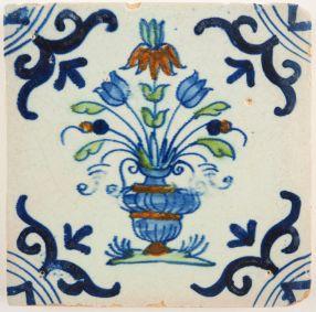 Antique Delft tile with a flower pot, 17th century