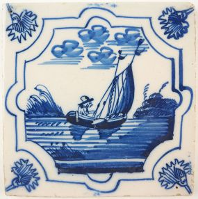 Antique Delft tile with a sailor, 18th century