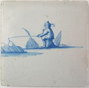 Antique Delft tile with a fisherman, 17th century