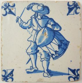 Antique Delft tile with a drummer, 17th century
