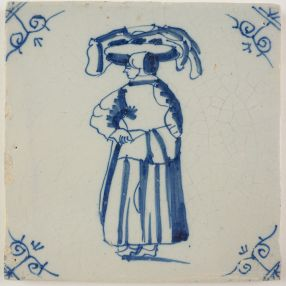 Antique Delft tile with a woman carrying goods, 18th century