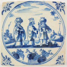 Antique Delft tile with the Three Kings, 18th century